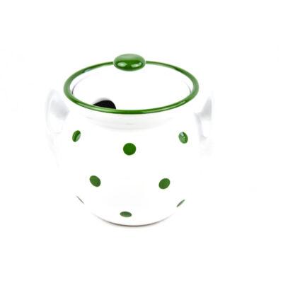 Kerámia méz-lekvártartó csupor fehér-zöld pöttyös